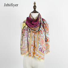 jzhifiyer YX193 silk scarfs paisley mujer shawls 45G georgette soft long Silkly scarf shawls sarong beach pareo cape wraps tops(China)