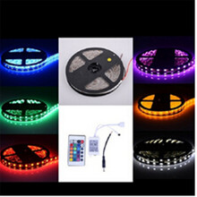 Waterproof  CAR LED RGB strip light SMD   Fiexble Light 60 LED/M 5M DC 12V Adapter Power 2A Free shipping RGB strip lamp bulb