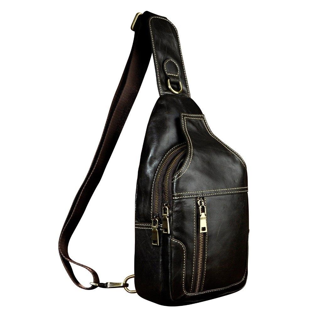 Men Real Leather Casual Chest Bag Sling Bag Design Daypack One Shoulder Bag Fashion Crossbody Bag Male 6601<br>