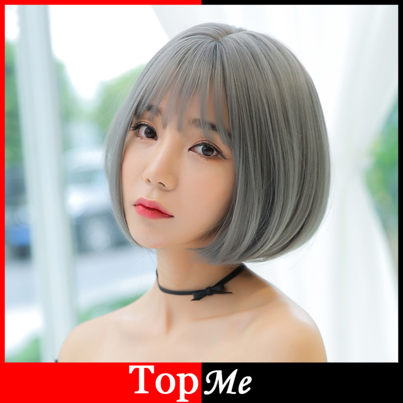 Short Women Wigs Synthetic Hair Silver Gray Natural Straight Bobo Wig For Woman Heat Resistant Full Hair Lace Cup Grey Lady Wig<br><br>Aliexpress