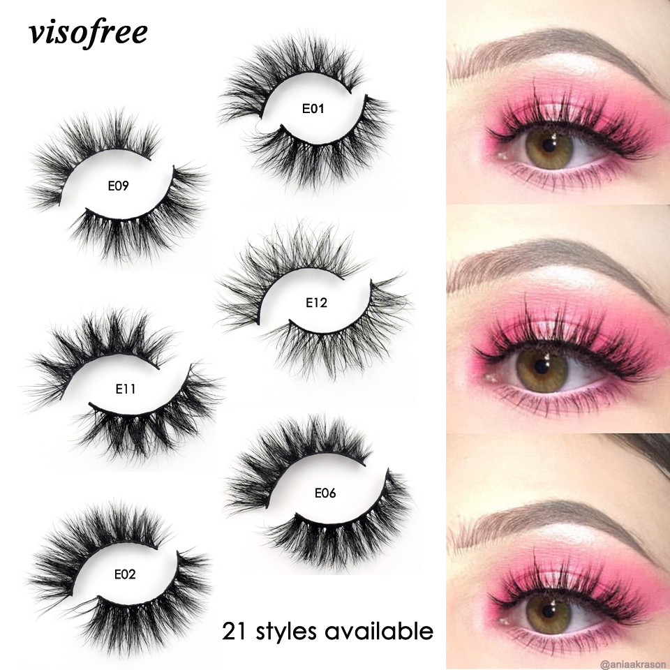 Visofree Mink Lashes 3D Mink Eyelashes 100% Cruelty free Lashes Handmade Reusable Natural Eyelashes Popular False Lashes Makeup(China)