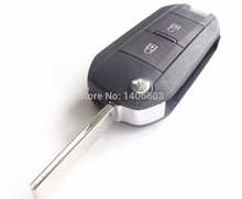 1pc Auto key Shell Blank Cover for Citroen C2 C3 C4 C5 C6 C8 Uncut Blade 2 button refite key shell with groove with logo