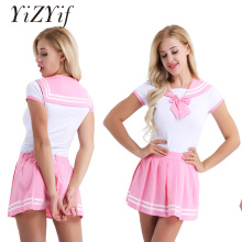 Buy YiZYiF Sexy Costumes School Girl Sexy Cosplay fantasia lingerie Short Sleeve Snap Crotch Romper Mini Pleated Skirt Cosplay