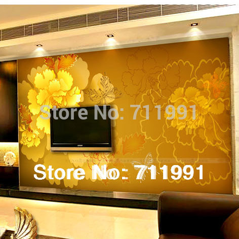Free shipping Fashion large mural gold peony background wallpaper sofa tv wallpaper plant wallpaper,3D wallpaper for living room<br>
