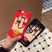 Korean 3D Red Lips Nail Polish Hands Case for iPhone 7 7 plus 6 6s 6plus Silicone Back Case Funda Cover Free Shipping