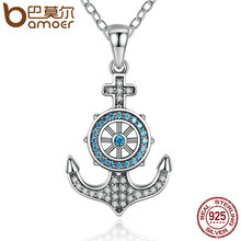 BAMOER 100% 925 Sterling Silver Sky Blue Crystal Anchor & Rudder Pendants & Necklaces Women Boat Helm Jewelry SCN061