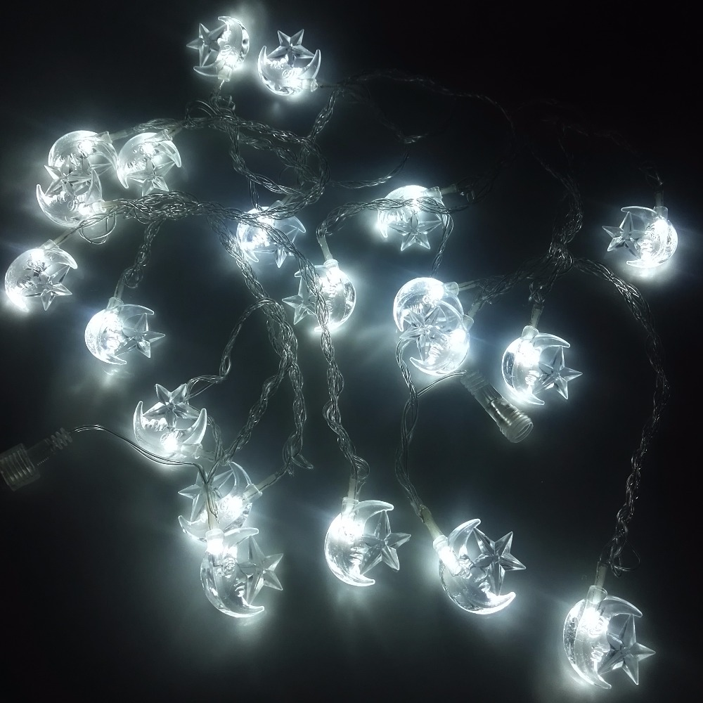 5M Moon Star Garland LED Christmas Lights Decoration Outdoor String Lights  New Year Party Holiday Decorative