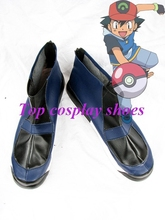 Freeshipping anime Ash Ketchum Dark Blue Cosplay Boots shoes custom-made Hand made for Halloween Christmas party shoes