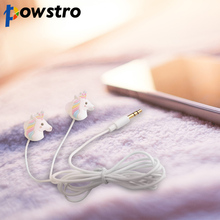 Powstro Cute Unicorns Cartoon Earphones Colorful Rainbow Horse In-ear Earphone 3.5mm Earbuds With Mic For Smartphone Kids Gifts(China)
