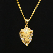 316 L Stainless Steel gold color hip hop iced out lion pendant necklace with 60cm cuban link chain necklaces bling jewelry(China)