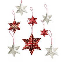 New 8pcs Paper Six-pointed Stars Christmas Decoration Gifts Hanging Christmas Trees Ornaments Festive Decoration Party Supplies