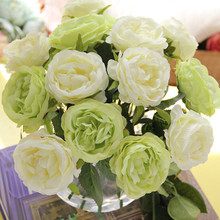 30CM Silk Rose Artificial Flower for Home Decoration Circle Core Hand Tied Bouquet Wedding Decorative Flowers