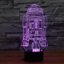 New Action Figure 7colors Robot R2D2 3D Visual LED Night Lights for Kids Friends Star War Fans as Bedroom Table Desk Lamp