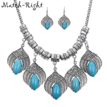 Match-Right Vintage Ethnic Stone Statement Set Necklace Women Style Snake Chain Leaf Necklaces & Pendants Colar Jewelry NL653(China)