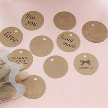 100pcs/lot 4.3x4.3cm Brown Kraft Paper Tags DIY Round Food Label Wedding Gift Decorating Tag Party Supplies