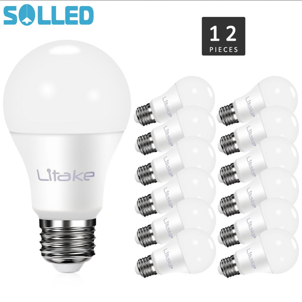 SOLLED LITAKE 12 Packed E26 E27 LED Bulb Light A19 11W Equivalent to 100W Incandescent Bulb  Non-dimmable Warm White 3000K <br>