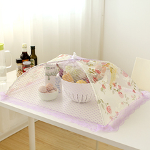 Quality lace folding dining table cover food Large rectangle cover fly-proof cover(China)