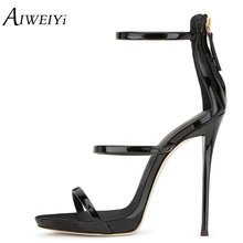 AIWEIYi Ladies 2017 Fashion PU Laether Open Toe High Heels Platform Gladiator Sandals Women Party Dress Stiletto Summer Shoes(China)