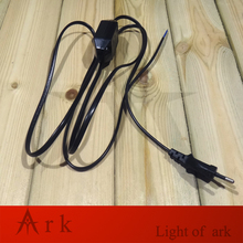 European VDE Approval 1.8M EU Black Cable with 2 Round pin Plug online Dimmer Switch Wire for Table/Floor Lamp