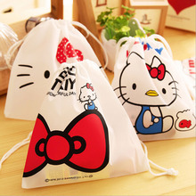 K45 1pc Cute Kawaii Hello Kitty String Rope Cloth Stationery Pen Bag Storage Gift Bag Card & Note Holder Pouch(China)