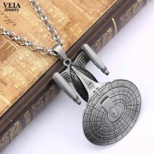 Star Wars Jewelry Star Trek Enterprise Model Pendant Spacecraft Necklaces Metal Statement Necklace For Men Accessories(China)