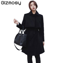 Winter Coat Women 2017 New Fashion Slim Turn-down Collar Wool Coat Belt Solid Long Slim Ladies Woolen Blended Outwear BN1360