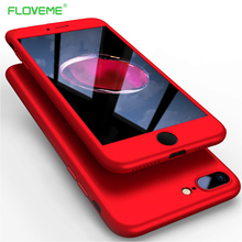 FLOVEME 360 Full Body Case For iPhone 5 5S SE iPhone 7 8 6 6S Plus Protective Tempered Glass Shells For iPhone 6 7 Plus 5 Cover