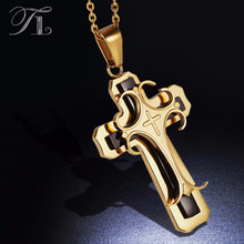 TL Stainless Steel Cross Pendant Necklaces Stereoscopic Fashion Design Three Layer Artist Designer Necklace Mature Men Necklaces(China)
