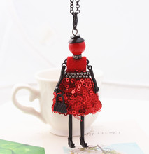 2016 Hot sale!!Handmade French doll Necklace Pendant Long Winter women jewelry store Christmas gift accessories free shipping