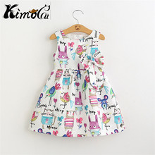 Kimocat New Summer cartoons graffiti big high quality next baby girl Birthday party dress(China)