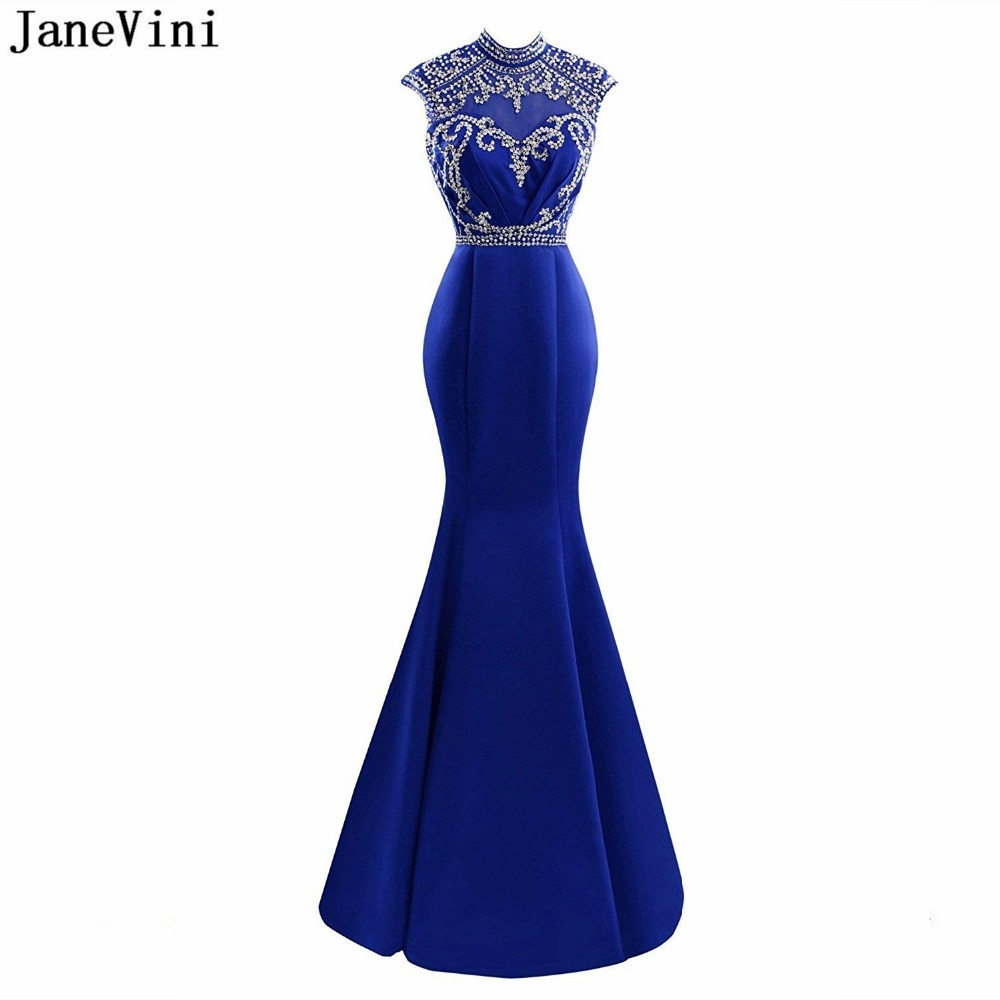 JaneVini Sexy Royal Blue Satin Mother of The Bride Dresses Mermaid High Neck Luxury Beading Backless Women Evening Party Gowns