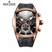 Reef Tiger/RT Luxury Watches Men's Tourbillon Analog Automatic Watch Rose Gold Tone Sport Wrist Watch Rubber Strap RGA3069(China)