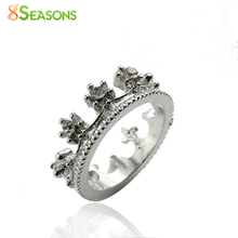 8SEASONS Fashion Rhinestone Queen's Crown Ring Women Elegant Luxury rose gold-color Engagement Party Bijoux wedding