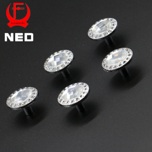 10PCS NED 30mm Diamond Design Clear Crystal Glass Knobs Cupboard Drawer Pull Kitchen Cabinet Wardrobe Handles Furniture Hardware