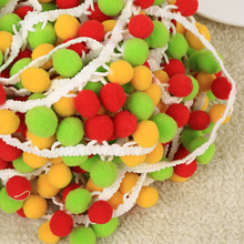 20mm Popular Red Orange Green Lace Balls Rainbow Lace pompom 3 Colors Mix Ribbon Trim Ball pom pom For Clothing 5Yards/lot(China)