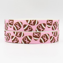Q&N ribbon 7/8inch 22mm 161112038 football on pink printed grosgrain ribbon webbing 50yards/roll for headband free shipping(China)