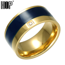 Buy HIP Crystal Couple love Ring Bling Gold Color High Polished Stainless Steel Wedding Rings Men Jewelry for $2.54 in AliExpress store