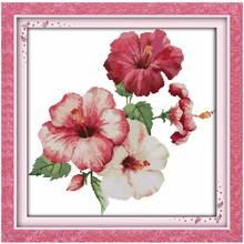 Гибискус цветы Вышивка Крестом Картины Счетный крест 11ct 14ct вышивки крестом оптовая продажа Крестик Комплект Вышивка рукоделие(China)