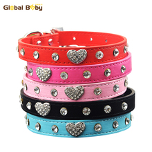 Hot Sale Pu Leather Rhinstone Dog Collar Heart Charm Fashion Pet Puppy Cat Necklace Products