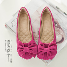 Spring Women's Classic Flats Comfortable Flats Flock Peas Shoes Female Shallow Mouth Shoes 6 Colors Bowtie Women Shoes 34--43