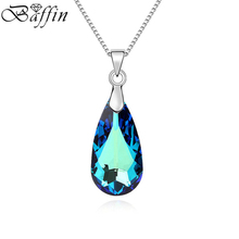BAFFIN MADE WITH SWAROVSKI ELEMENTS Crystal Blue Water Drop Pendant Necklace Joyas Mother's Day Gifts
