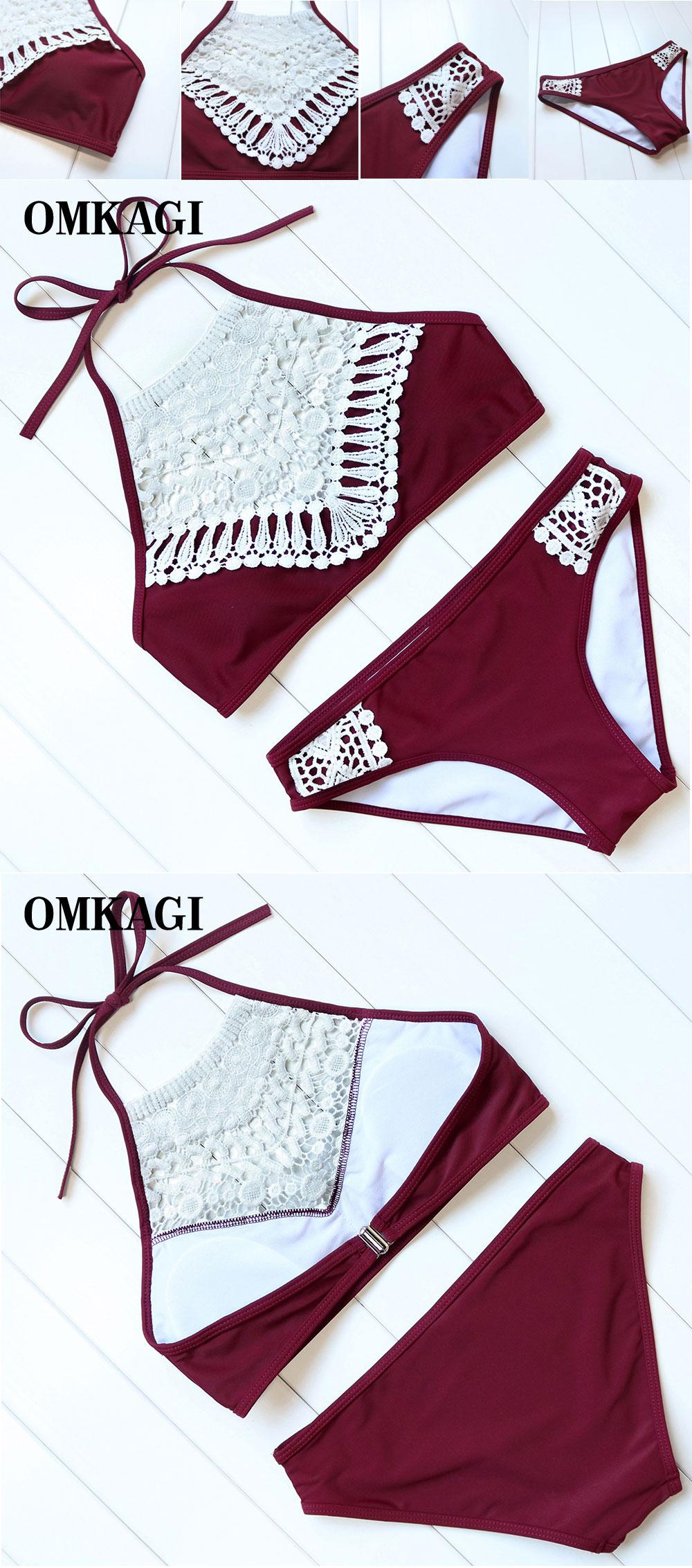 OMKAGI Swimwear Women Bikini Lace Patchwork Swimsuits Push-Up Low Waist Neck Bandage Bikini Set Bodysuits Beachwear Biquini 7