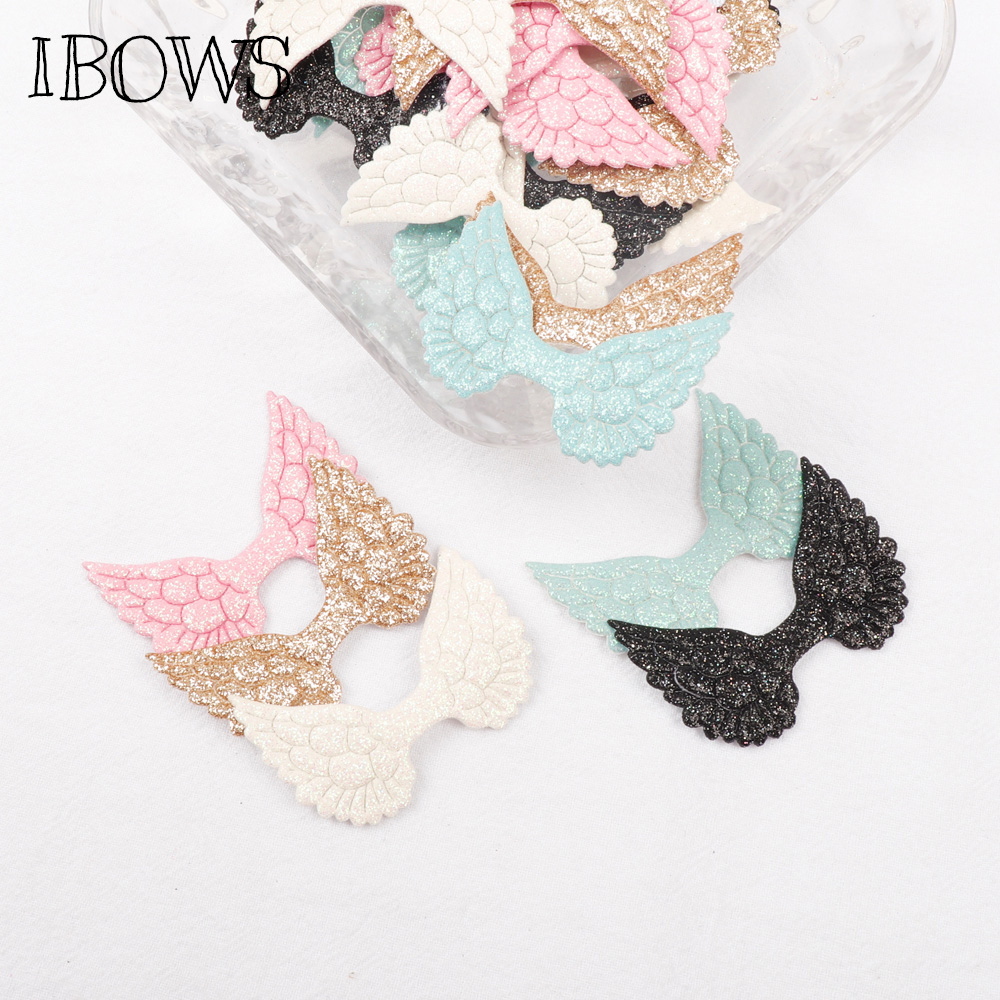 10pcs Candy Color Glitter Fabric Angel Wings DIY Clothing Bag Hair Bow HandCraft