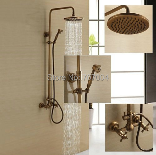 8 Shower Head Wall Mounted Bathroom with Handheld Shower Rainfall Faucet Set , Antique Brass Finish<br><br>Aliexpress