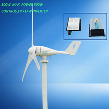 Max power 500w wind generator 12v24v horizontal wind generator with controller,1kw inverter low/free shipping freight by DHL(China)