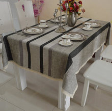 High grade Cotton linen chenille Europe modern brief striped dining table cloth rectangle round square table cloth custom