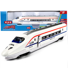 Alloy simulation train model Electric Bullet Train Toy LED Flashing Lights Sounds subway car high speed rail Warrior Toys Jsuny(China)