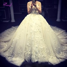 Buy Fmogl Elegant Strapless Lace Ball Gown Wedding Dress 2018 Graceful Appliques Chapel Train Princess Bride Gown Robe De Mariage for $409.99 in AliExpress store