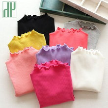 Candy color Children T shirt Girls casual Blouse tops fall Autumn Turtleneck baby girls long sleeve tops T shirt kids clothes(China)