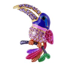 Colorful Rhinestone Enamel Parakeet Brooch (1pc) Bird Brooch Gift for Children new